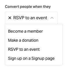 Actions a supporter can take to count as converted